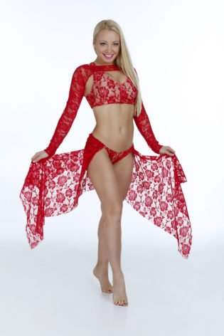 pole dance red costume